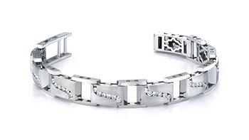Mens Diamond Brushed White Gold Bracelet