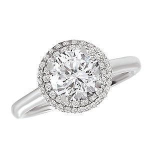 micro pave halo diamond ring